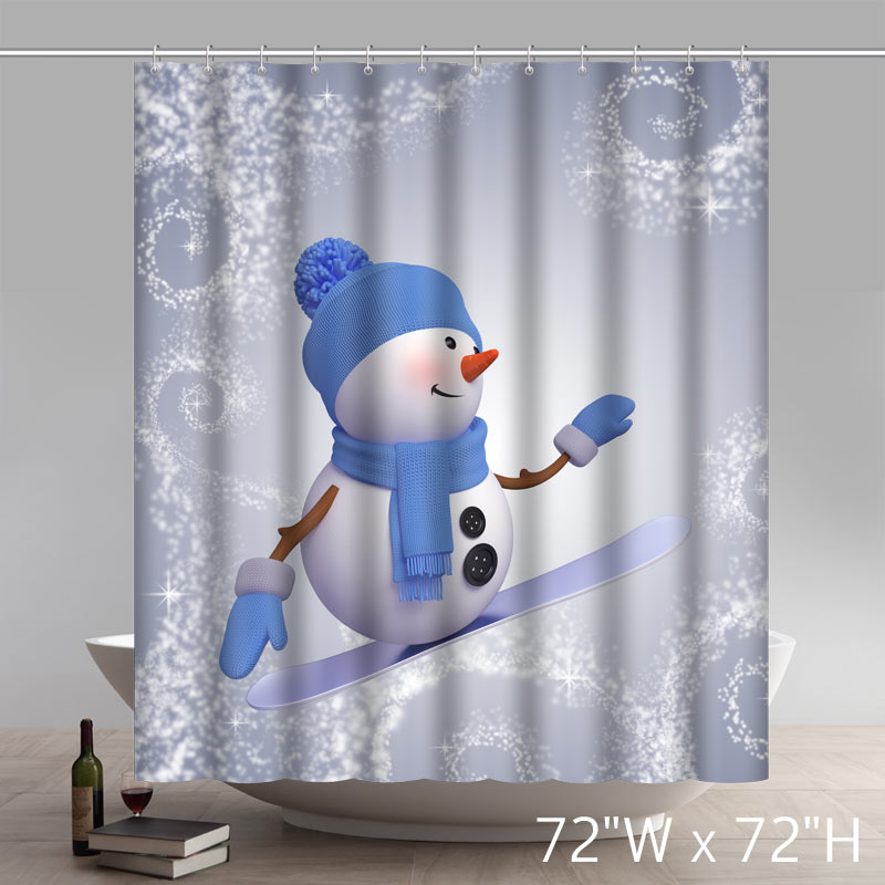 Ordinaire Funny Print Christmas Gift Cute Snowman Waterproof Kitchen Shower Curtains