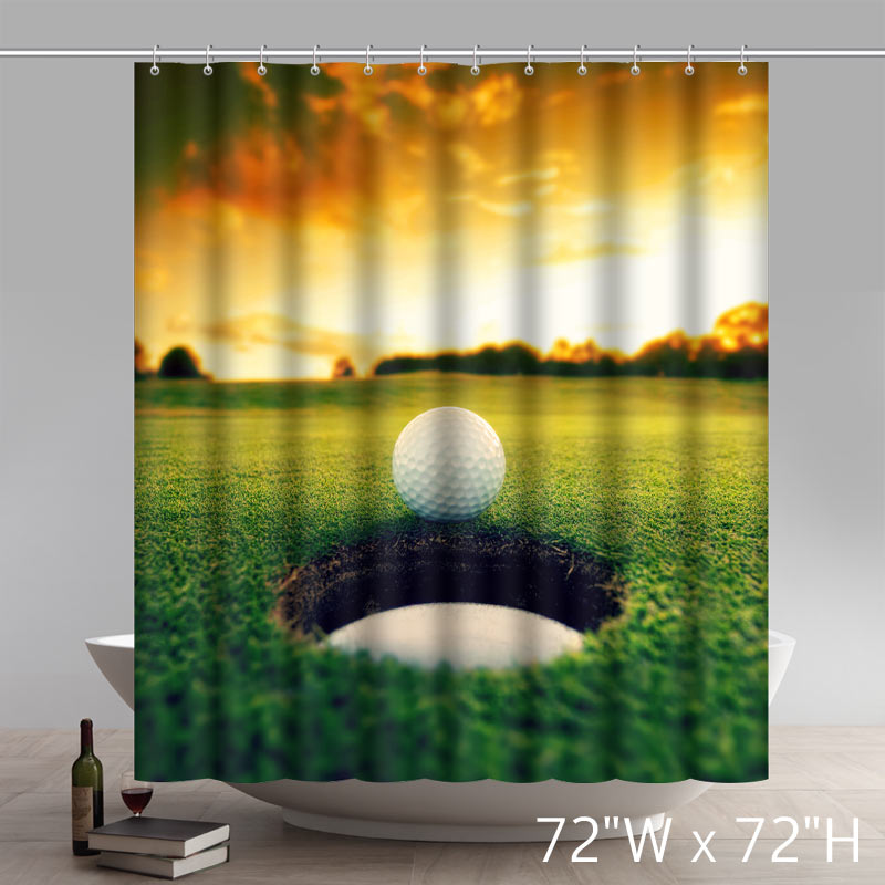Funny Print Golf Ball Rolling Into A Hole Waterproof Fabric Bathroom Shower Curtains