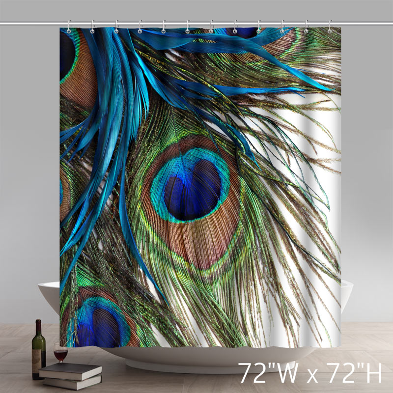 Liberty Art Blue Peacock Feathers Bathroom Shower Curtains
