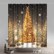Christmas Gift Beautiful Outdoor Christmas Trees Waterproof Kitchen Shower Curtain