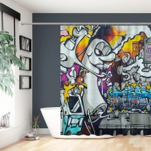 Abstract Munich Germany August Mural By Unknown Artist At The Famous Graffiti Spot Shower Curtains For Bathroom