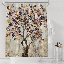 Abstract Tree of Life Shower Curtain Set with 12 Hooks For Bathroom