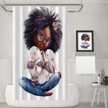African American Lady Shower Curtain Holding a rabbit Waterproof Fabric with 12 Hooks