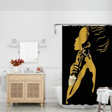 African American Woman Silhouette Art Fabric Bathroom Shower Curtain