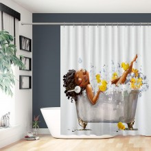 Afro Lady Shower Curtain African American Sexy Black Woman Lying on The Bathtub with Yellow Ducks Bubble with 12 Hooks