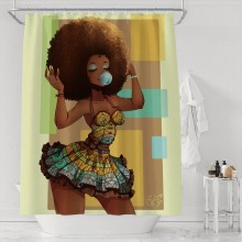 Afro Shower Curtain African Woman On Mini Skirt Bubble Gum Watercolor Home Decor Shower Curtain