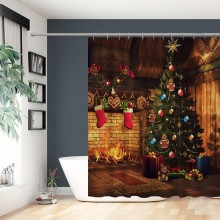 Backdrop ndoor Xmas Tree Gifts Vintage Fireplace Fireflame Red Stockings Shabby House Background Shower Curtains