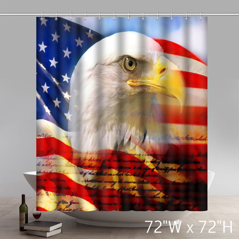 Symbol Bald Eagle On American Flag 100% Polyester Shower Curtain
