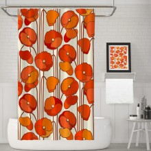 Beautiful Red Poppies Retro Floral Decorative Fabric Shower Curtain