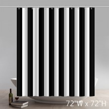 Classic Black and White Stripes Theme Shower Curtain Sets for Bathroom