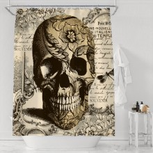Brown Yellow Skull Head Mirror Text and Flowers Theme Bathroom Decor Design with Hooks