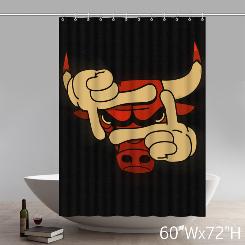 Symbol Chicago Bulls Waterproof Bathroom Shower Curtain Polyester Fabric Shower Curtain
