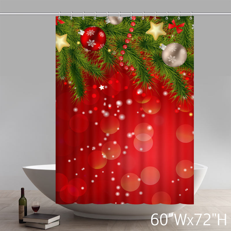 Custom Symbol Christmas Gifts Christmas Tree Red Waterproof Bathroom Shower Curtains