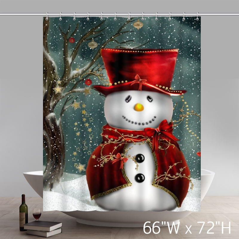 Funny Print Christmas Gifts Snowmen Waterproof Bathroom Shower Curtains