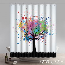 Custom Abstract Colorful Tree Design Waterproof Bathroom Shower Curtain