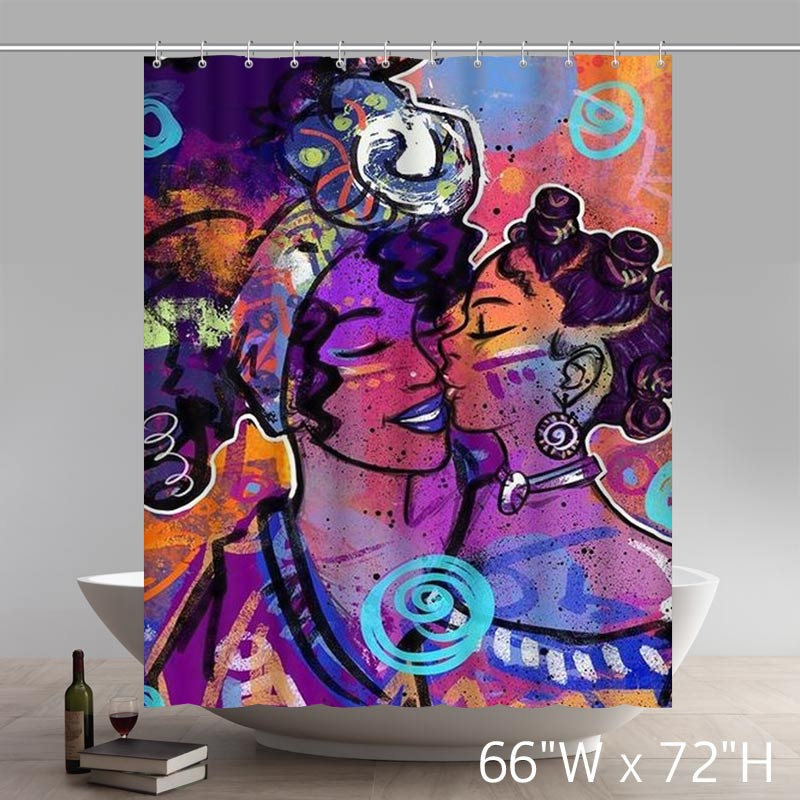 Custom Funny African American Black Women Painting Bath Shower Curtains