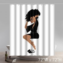 Custom Funny Black Girl Magique Witch Print Waterproof Bathroom Shower Curtains