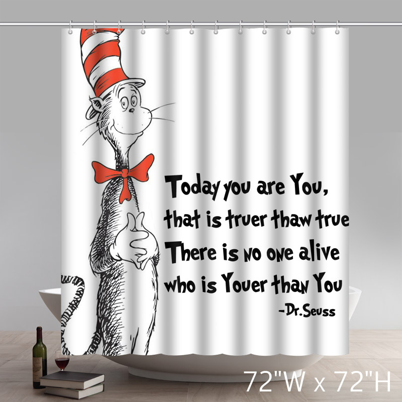Custom Funny DR Seuss Cat in the Hat Waterproof Polyester Fabric Shower Curtain With Latest Design Print
