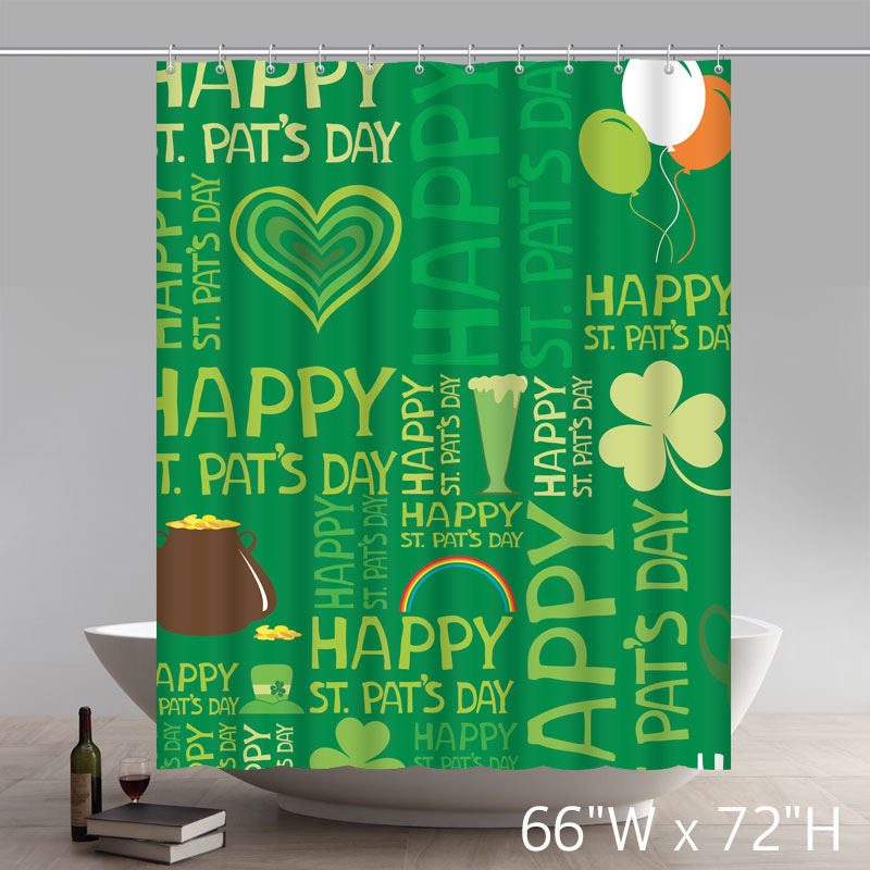 Custom Happy St.Patrick's Day Waterproof Fabric Polyester Shower Curtain