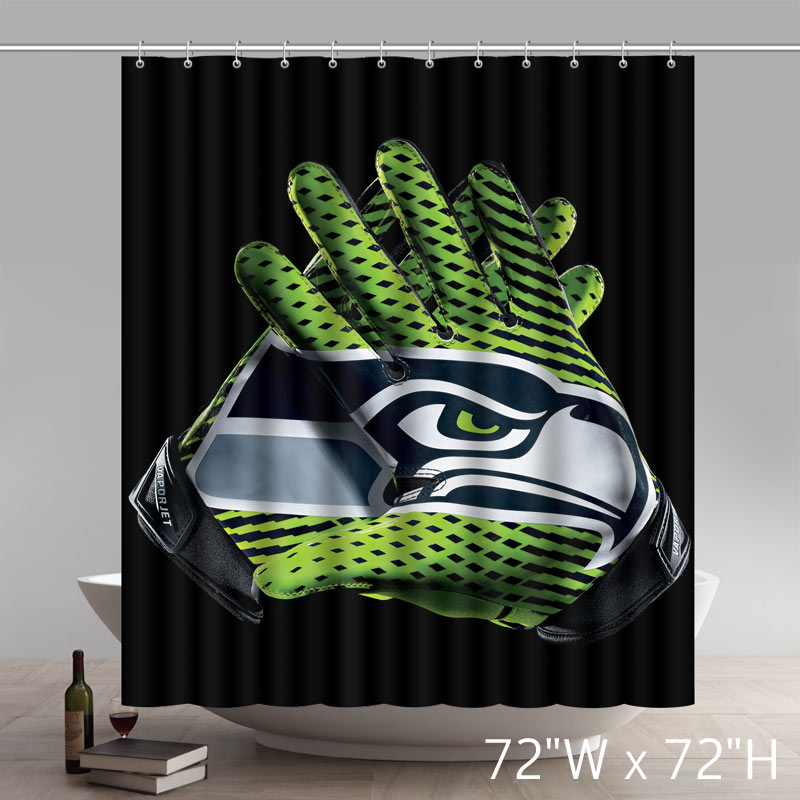 Custom NFL Seahawks Vapor Glove Symbol Shower Curtain Waterproof 100% Polyester Bath Curtain