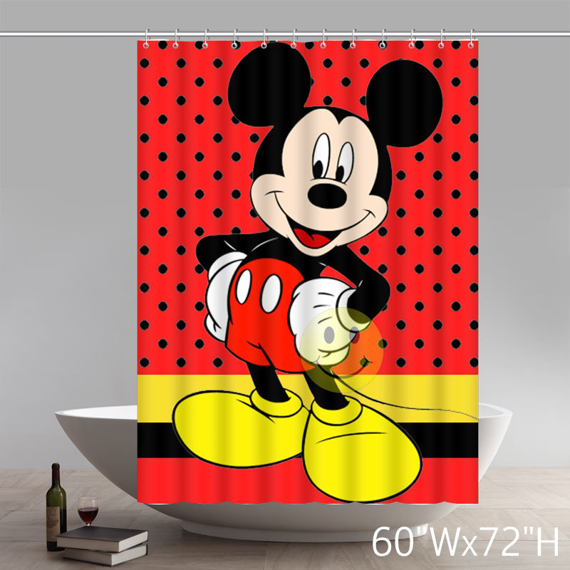 Custom Waterproof Polyester Fabric Disney Cartoon Mickey Mouse Art Shower Curtain