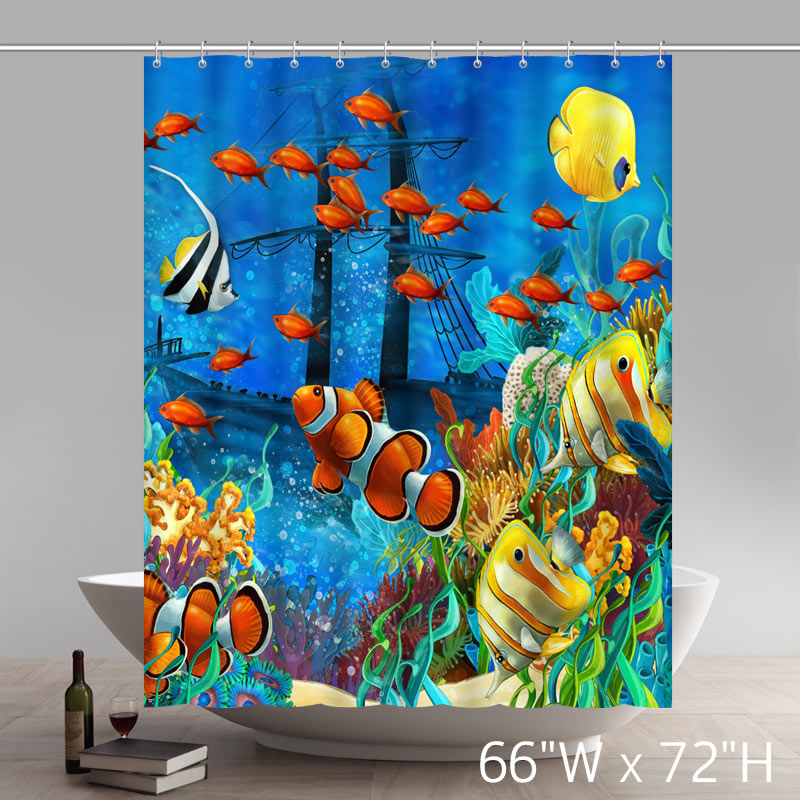 Disneycartoon Custom Blue Ocean Tropical Fish Coral Undersea World Waterproof Fabric Bathroom Shower Curtains