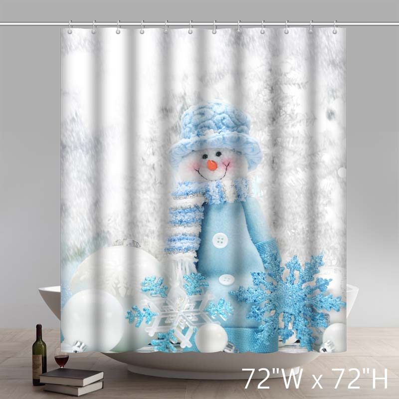 Delicieux Funny Print Blue Snowman Design Waterproof Kitchen Bathroom Shower Curtains