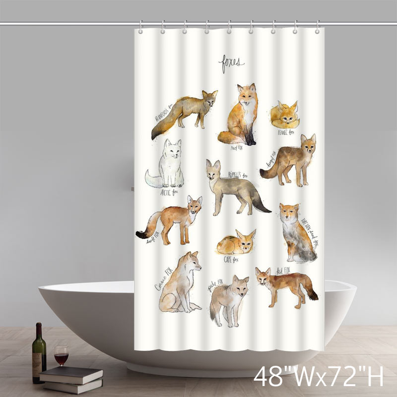 Funny Print Custom All Kinds Of Foxes Shower Curtains