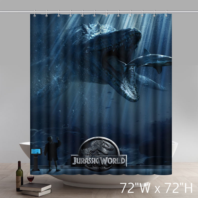 Funny Print Custom Jurassic World Font Dinasaur Design Anime Polyester Waterproof Shower Curtain Personalized