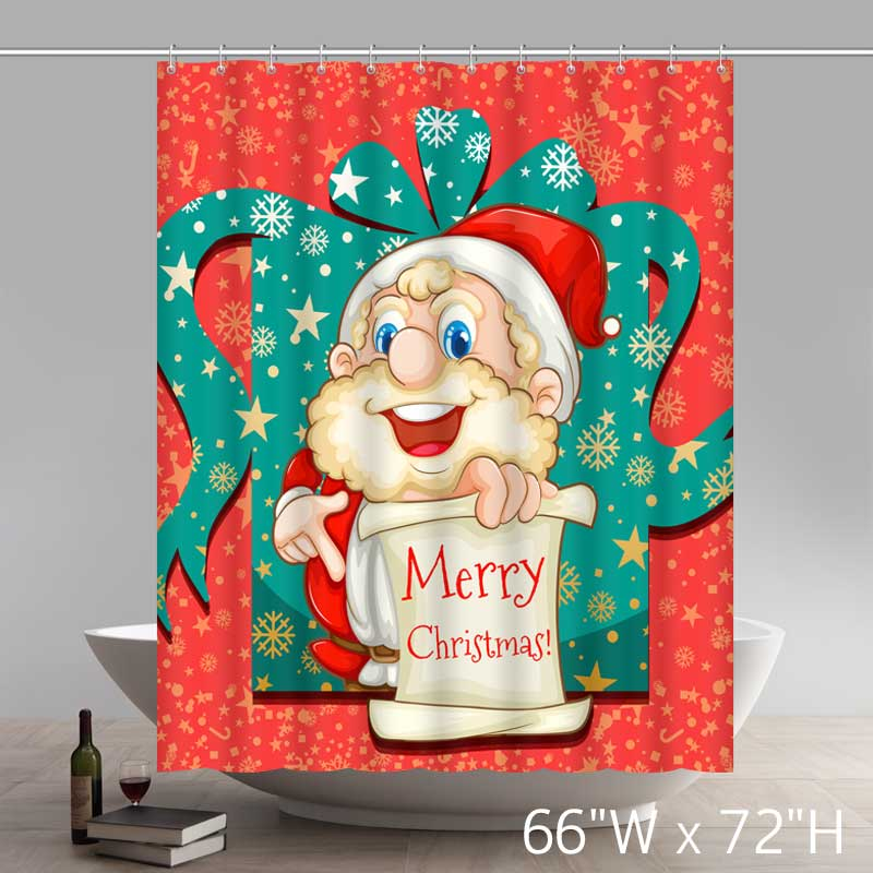 Funny Print Merry Christmas Santa Claus B Waterproof Kitchen Bathroom Shower Curtains