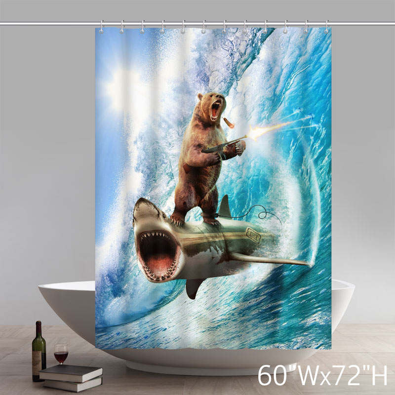 Funny Print New Bear Gun Riding Shark Custom Shower Curtains