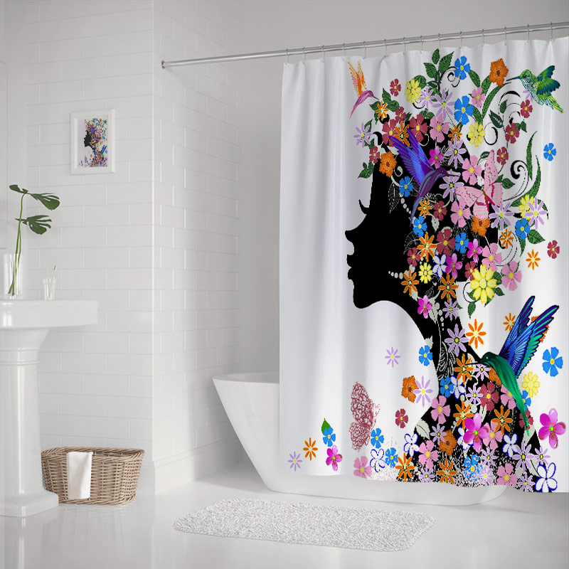 Girl Flower Butterfly Bathroom Polyester Fabric Shower Curtain