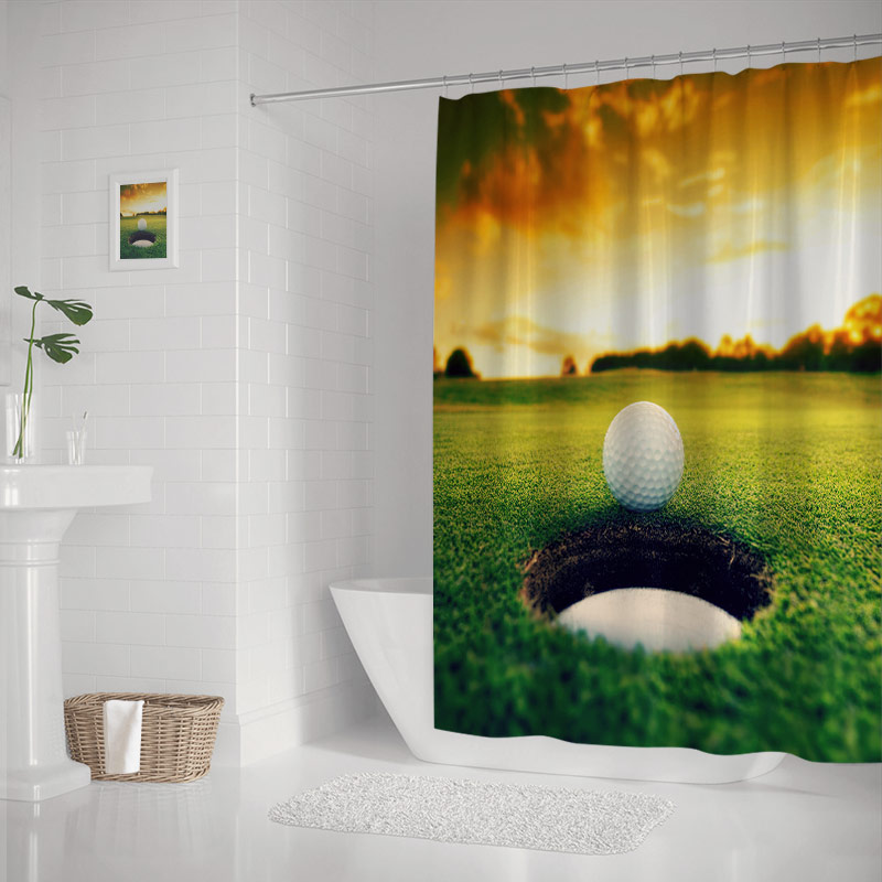 Golf Ball about to Fall into the Cup at Sunset Shower Curtain Waterproof