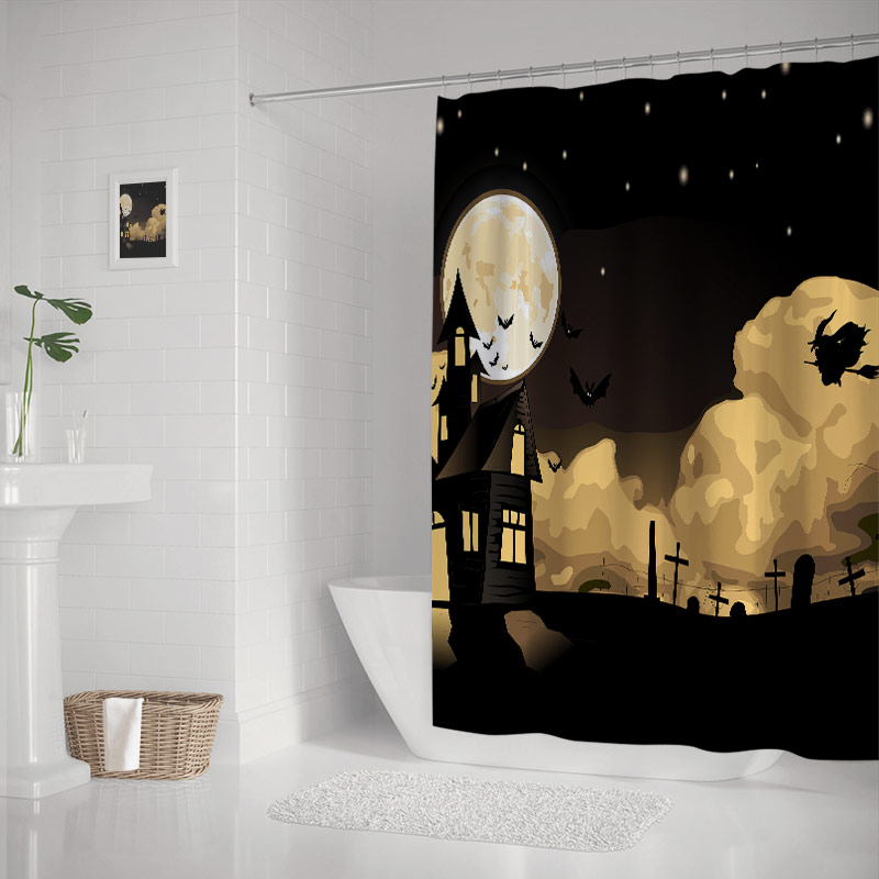 Happy Halloween Eve Theme Witch Flying the Moon Night Castle Bats Tomb Print Shower Curtain