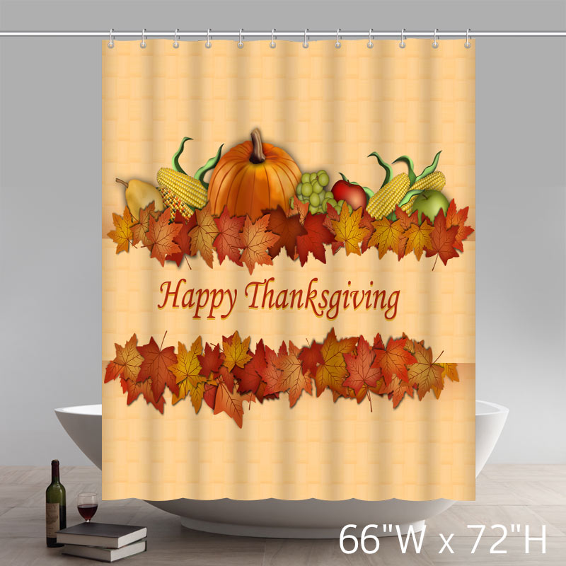 Unique Liberty Art Happy Thanksgiving Bathroom Shower Curtains