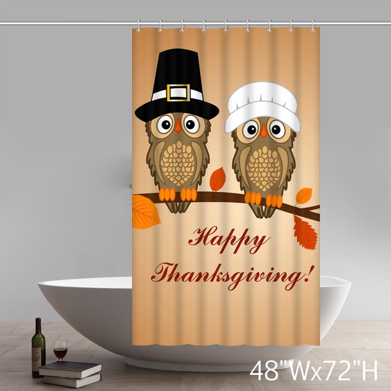Happy Thanksgiving Funny Owl Art Non woven Fabric Shower Curtain