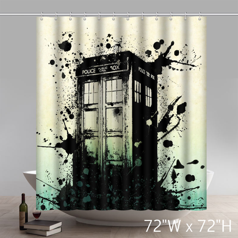 Liberty Art Abigai Doctor Who Tardis Waterproof Bathroom Fabric Shower Curtains