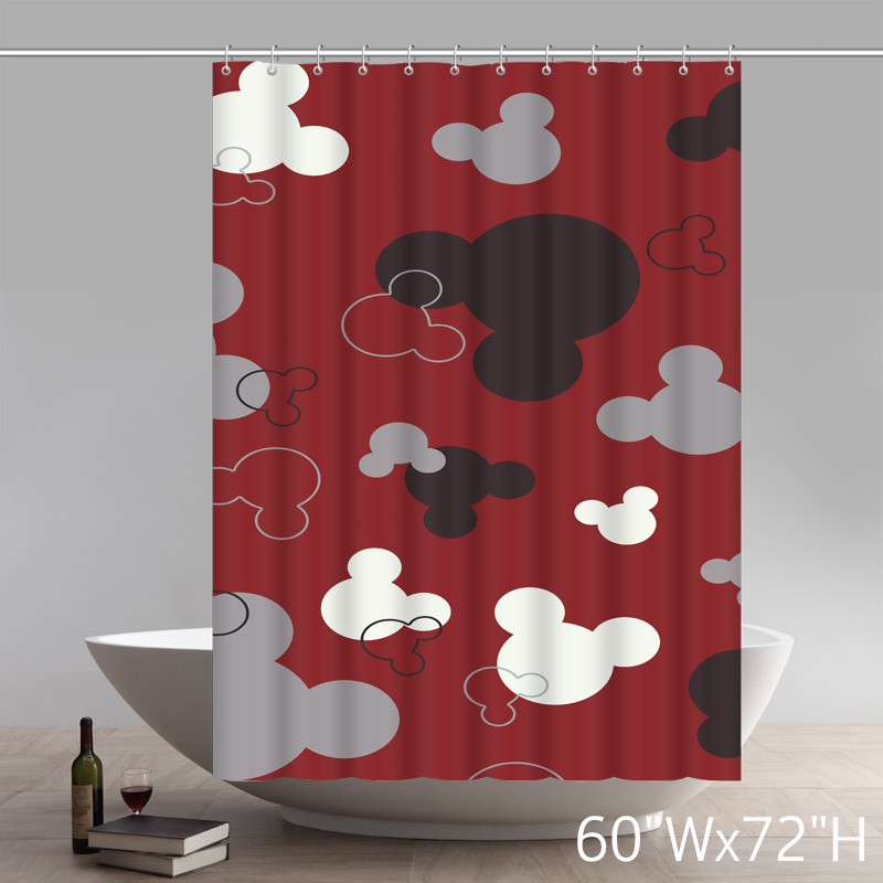 Liberty Art Flawless Gorgeous Creative Mickey Mouse Shower Retro Curtain Shower 100% WaterProof Polyester Fabric