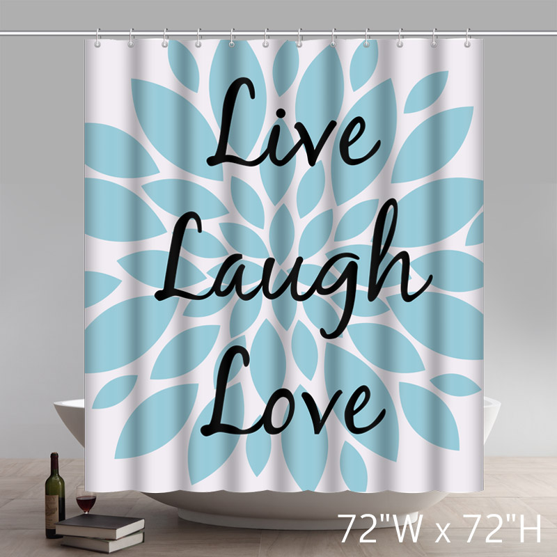 Liberty Art Inspirational Quotes Live Laugh Love Pattern Polyester Shower Curtain