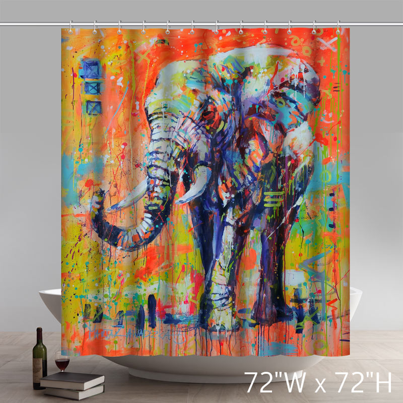 Liberty Art Painting Marta Zawadzka Colourful Elephant Bathroom Polyester Fabric Shower Curtains