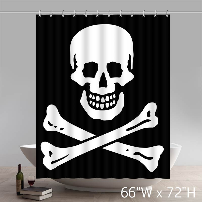 Liberty Art Skull And Crossbones Patch Shower Curtains