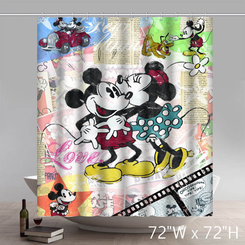 Custom Disneycartoon Mickey Minnie Mouse Shower Curtain