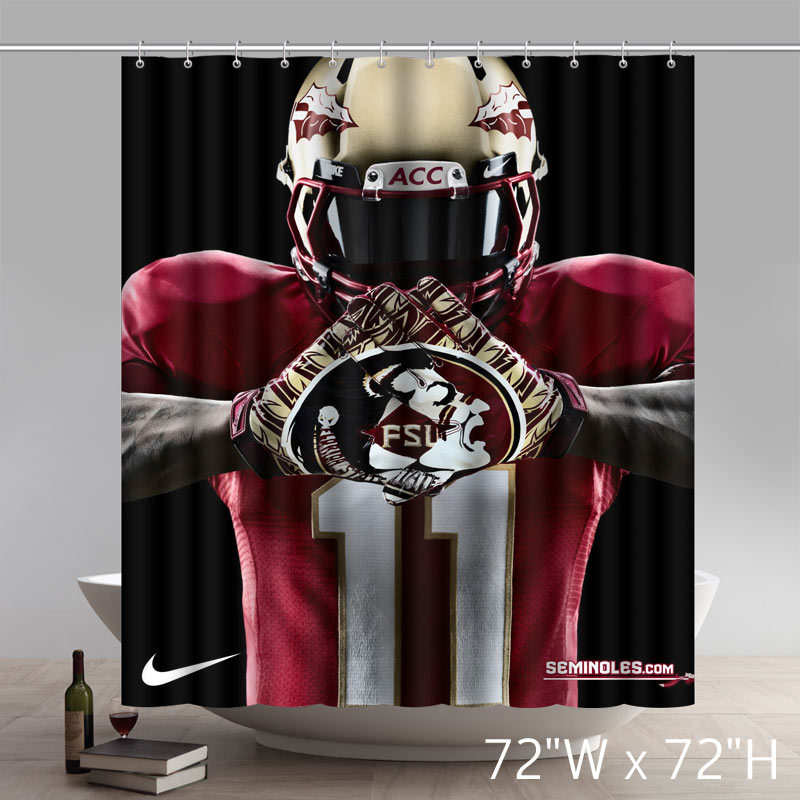 Too Amazing Symbol NCAA Florida State Seminoles Print Waterproof Fabric Bath Shower Curtain
