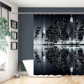 New York Night City Landscape Rise Building Black Home Decorative Shower Curtains