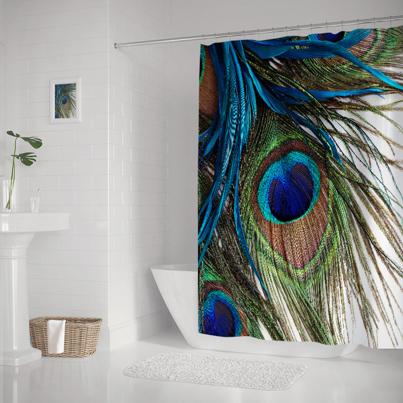 Peocock Feather Artwork Shower Curtains Sets with Hooks for Bathroom