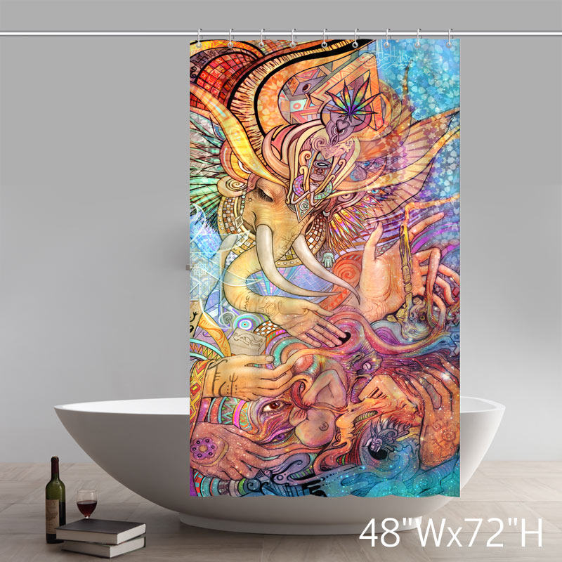 Personalized Custom Liberty Art Painting Elephant Goddess Colored Bathroom Waterproof Shower Curtains