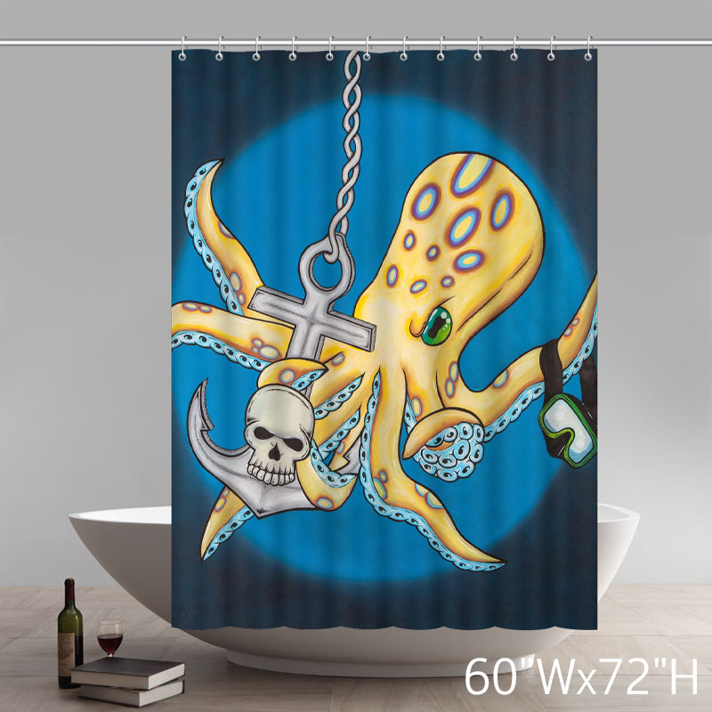 Personalized Custom Liberty Art Painting Toxic octopus by Zak Trevett Waterproof Shower Curtains