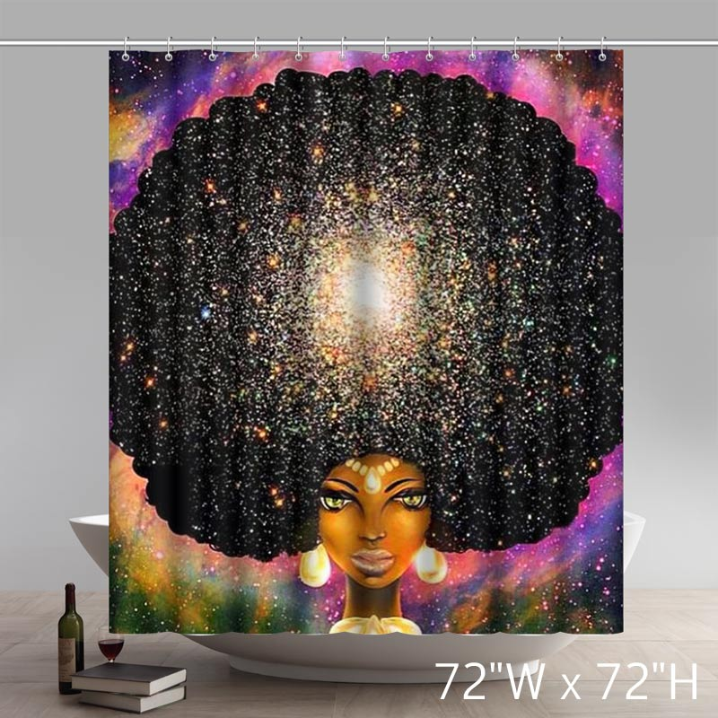 Personalized Liberty Art Afros Turned Into Flowery Galaxies Waterproof Shower Curtain