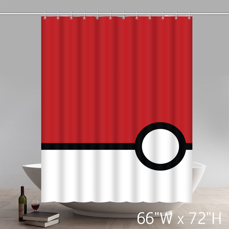 Geometric Pokemon Minimalistic Poke Balls Best Home Fashion Custom Fabric Bathroom Shower Curtain