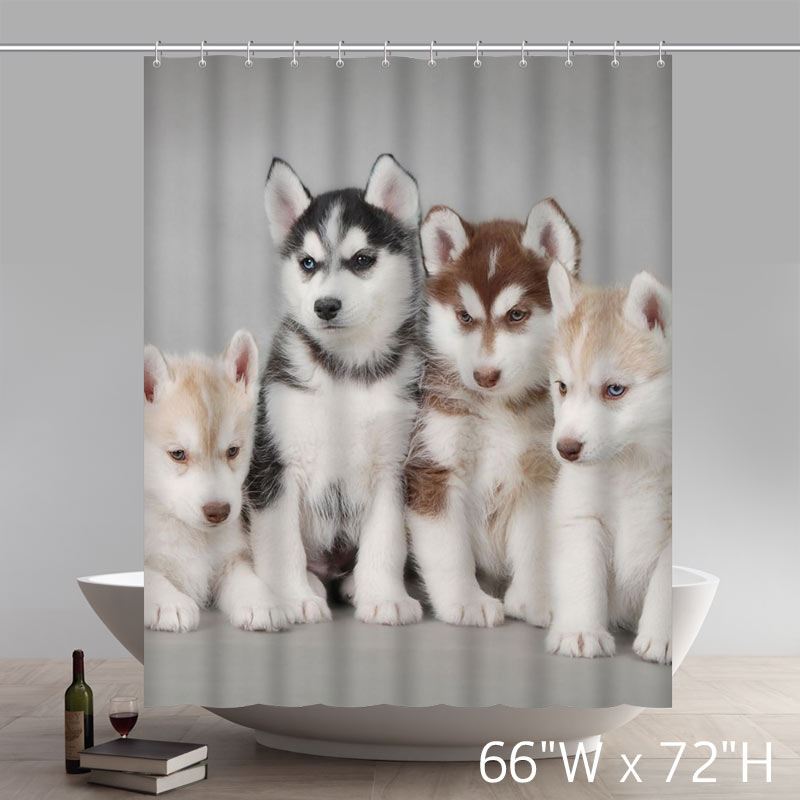Funny Siberian Husky Puppies Dogs Pets Pattern Bathroom Shower Curtain